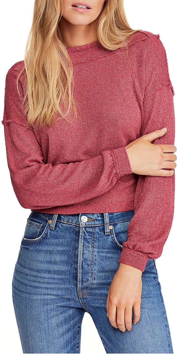 Free People Womens Long Sleeve Knit Blouse