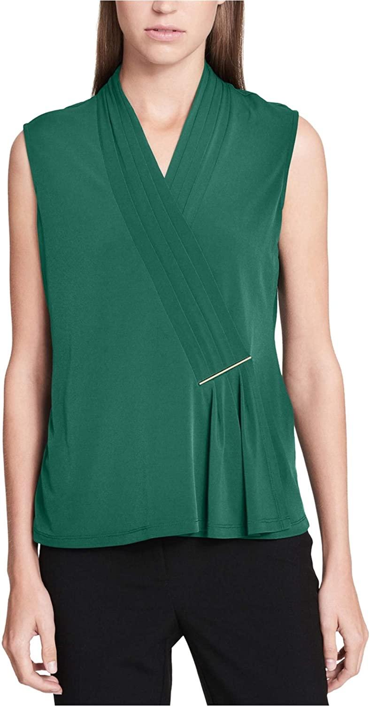 Calvin Klein Women's Sleeveless Top with Bar Hardware Malachite Medium
