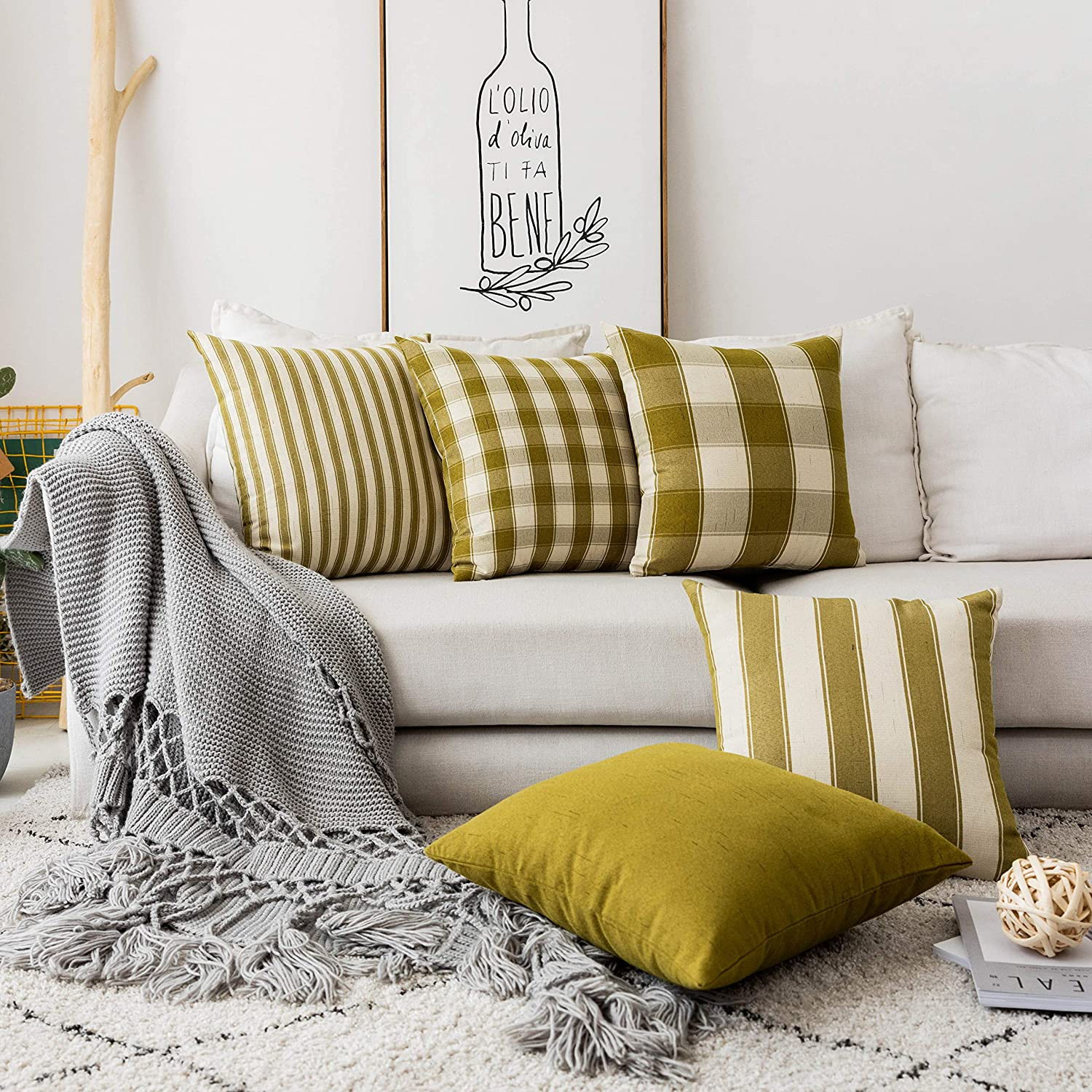 Home Brilliant Decorations Throw Pillows Cover Patterned Pillowcases Striped Farmhouse Linen Cushion Covers Set of 5 Green Pillow Covers for Sofa, Golden Olive, 18 x 18 inch, 45cm