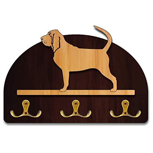 Hanger/holder leashes with figurine Bloodhound, rack key of wood, handmade