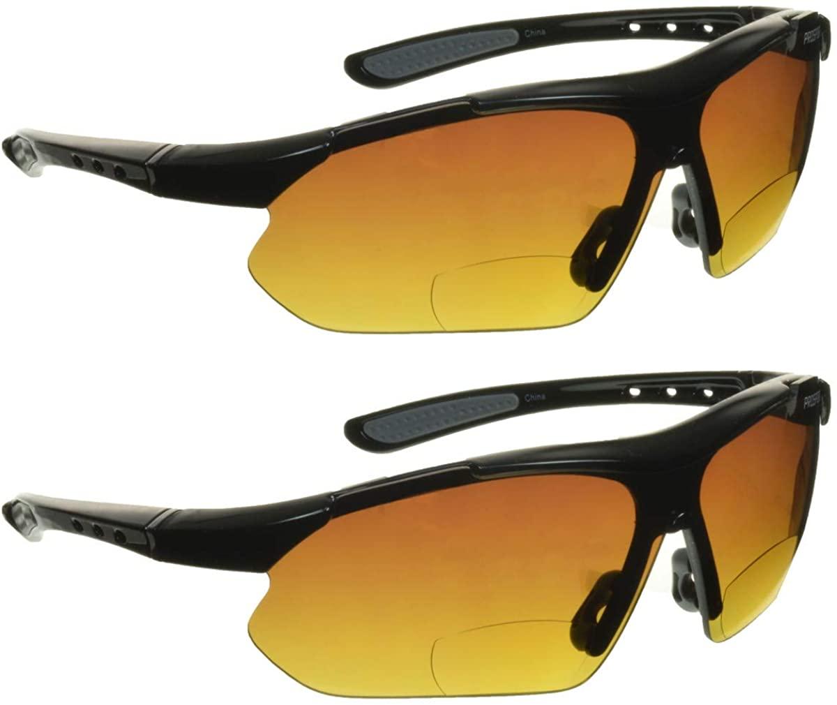 proSPORT Bifocal Sunglasses Mens Womens HD Vision Semi Rimless Wraparound Frame. Cycling, Running, Fishing, Golf and Driving
