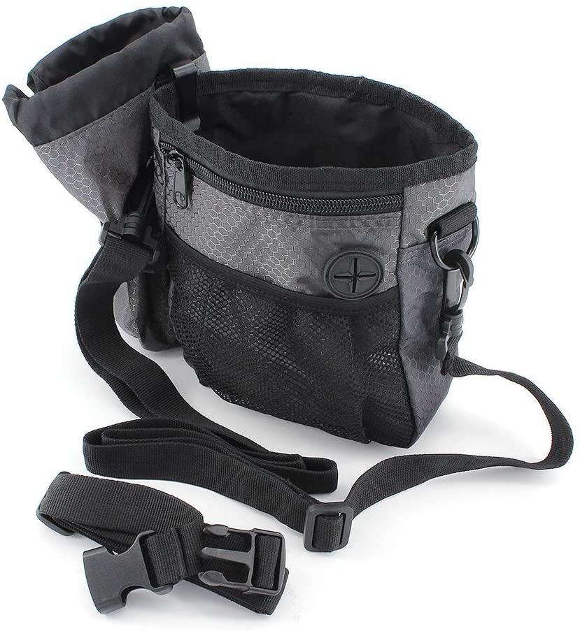 Bemodst Dog Treat Bag Pouch, Puppy Training Snack Pouch Running Bumbag Waist Bag Fanny Pack - with Built-in Poop Bag Dispenser, Belt Clip, Waistband, Shoulder Strap, Bottle Holder for Outdoor