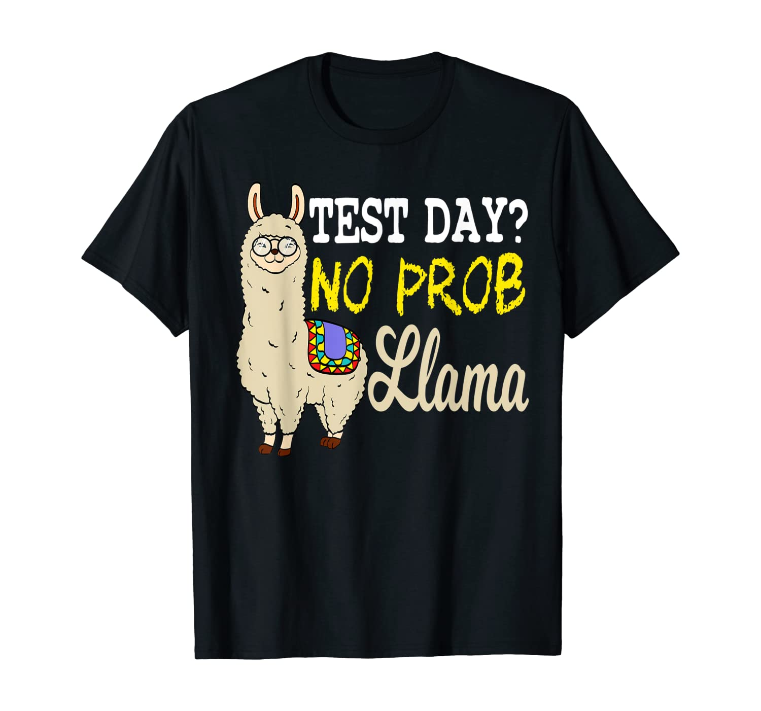 Funny Test Day Llama Teacher Tshirt T-Shirt