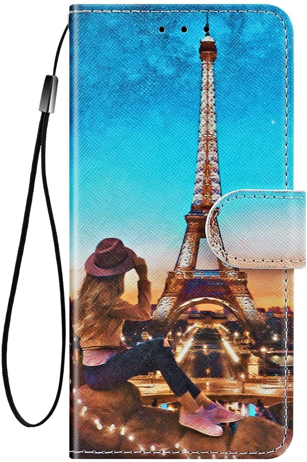 IKASEFU Compatible with Samsung Galaxy S10e Case Cute Painting Pu Leather Wallet Strap Case Card Slots Shockproof Magnetic Folio Flip Book Stand Protective Cover Case Girl tower