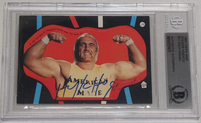 Hulk Hogan Signed 1985 Topps WWF Sticker Card #11 BAS Beckett COA WWE Autograph - Autographed Wrestling Cards