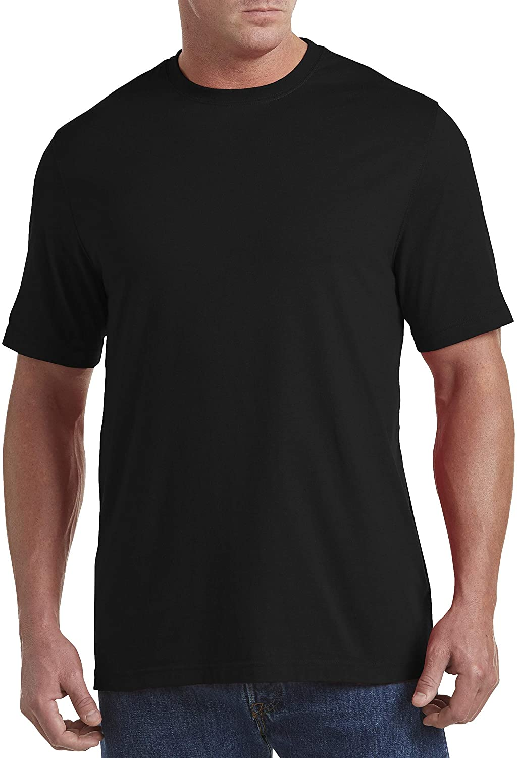 Harbor Bay by DXL Big and Tall Wicking No Pocket T-Shirt (XL-Tall, Caviar)