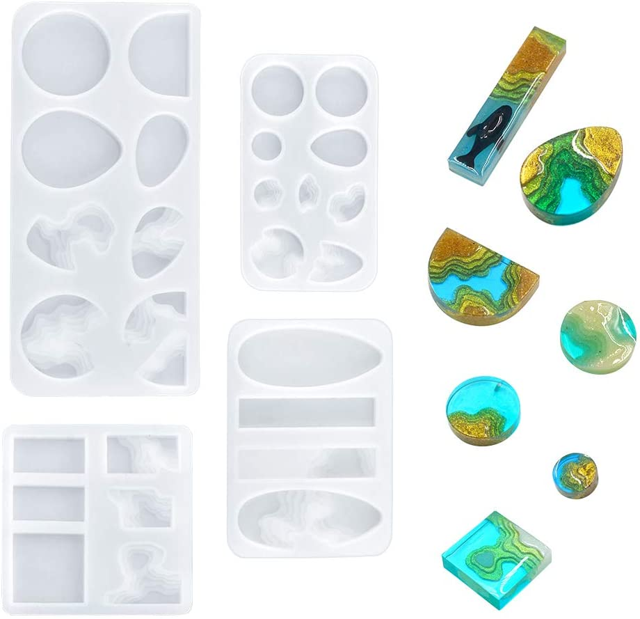 WANDIC Island Resin Molds, 4 pcs Creative Ocean Style Silicone Molds River Bay Molds Epoxy Resin Molds for Jewelry Making, Pendant, Necklace, DIY Crafts, Multi Cavity