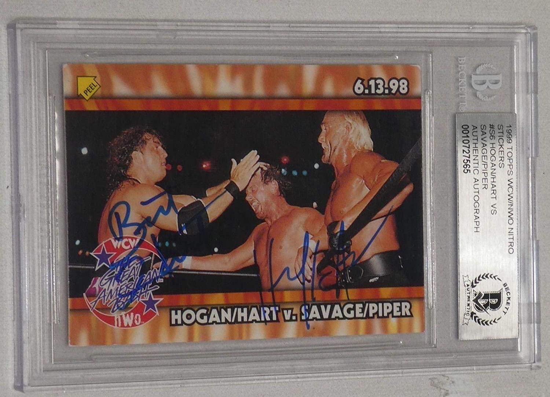Hulk Hogan Bret Hart Signed 1999 Topps WCW NWO Stickers Card S6 BAS COA WWE Auto - Autographed Wrestling Cards