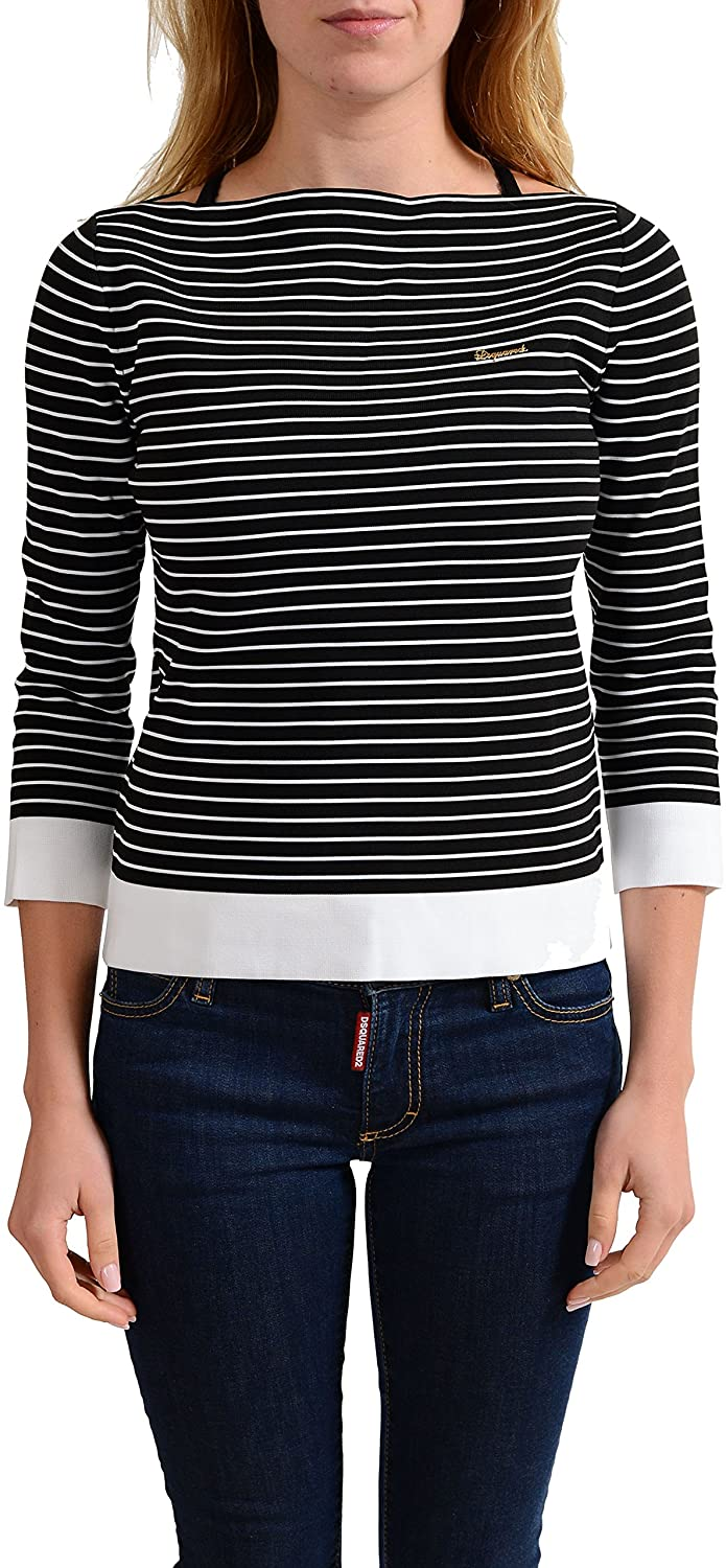 DSQUARED2 Womens Striped Boat Neck 3/4 Sleeve Top US M IT 42