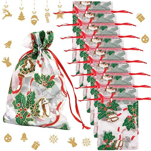 50Pcs 5X7 Christmas Organza Bag with Drawstring Mixed Christmas Bell Snowflake Jewelry Gift Bag Candy Favor Pouches Bags (style1)