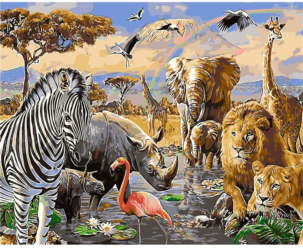 YANXIN DIY Paint by Numbers Kits,16x20 Inch Canvas Pictures for Kids and Adults,Acrylic Oil Paint Color with Paint Tool.Animals YX8015-E999