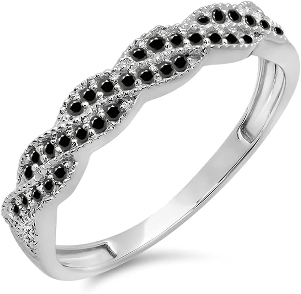 Dazzlingrock Collection 0.25 Carat (ctw) 14k Round Black Diamond Ladies Wedding Stackable Band Swirl Ring 1/4 CT, White Gold