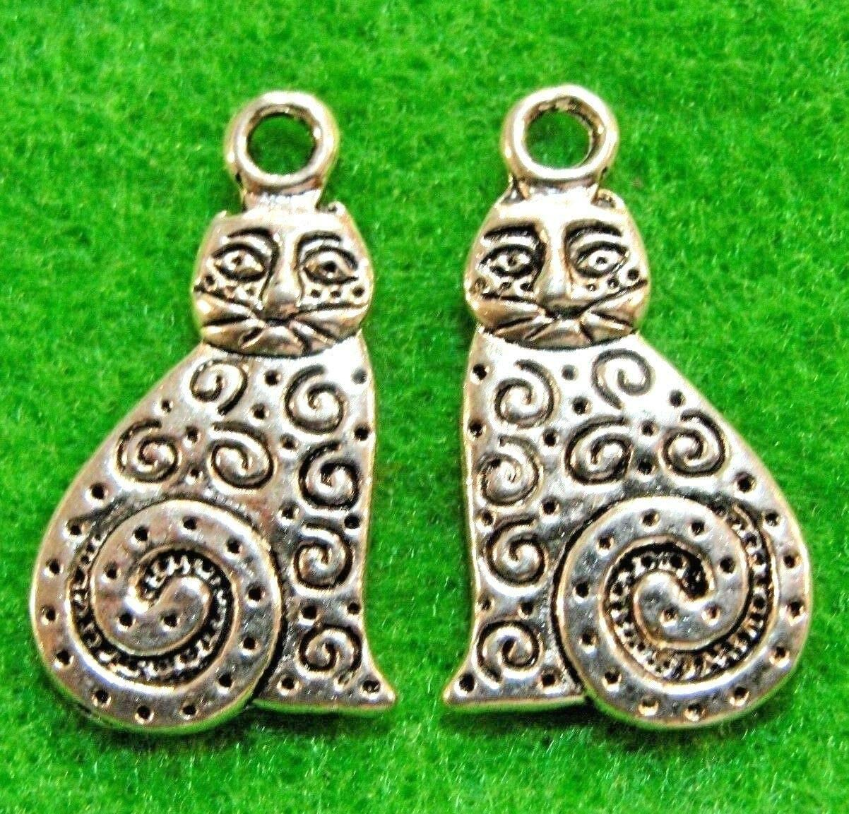 50-Pcs. Silver Kitty CAT Charms Pendants Earring Drops Q1149 - Jewelry Making DIY Crafting Charm Beads for Bracelets