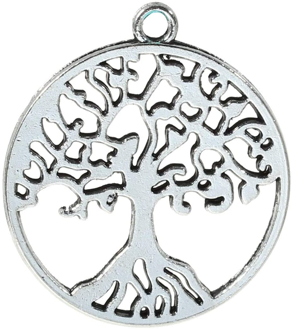 PEPPERLONELY 30pc Antiqued Silver Alloy Round Tree Carved Hollow Charms Pendants 29x25mm (1-1/8