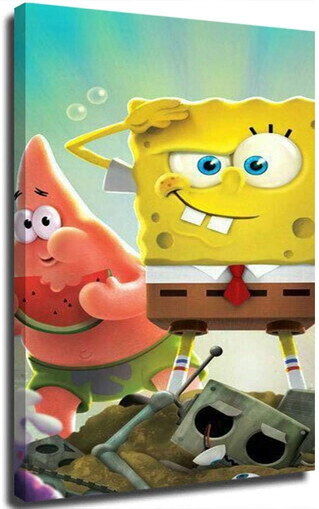 HOTSPEED Spongebob Patrick Star Poster Canvas Wall Art Picture on Canvas Oil Paintings for Living Room Boys Room Decor 16x24in 40x60cm(Unframed)