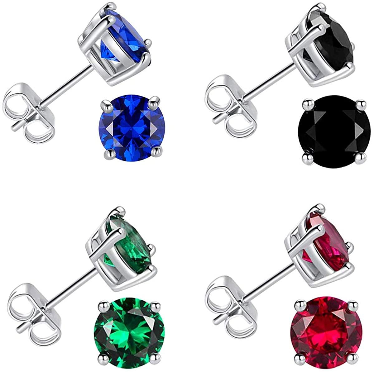 Sterling Silver Stud Earrings Hypoallergenic Earring Jewelry Gifts for Women Teen Girls Pack of 4 (Amethyst Opal CZ Earrings)