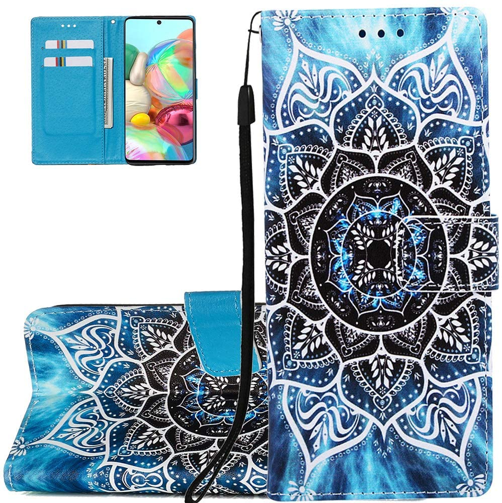LEECOCO Galaxy S20 Ultra Case Blue Sea Mandala Tower PU Leather Flip Notebook Wallet Case Bookstyle Magnetic Stand Card Slot Folio Bumper Protection Case for Samsung Galaxy S20 Ultra Mandala YB