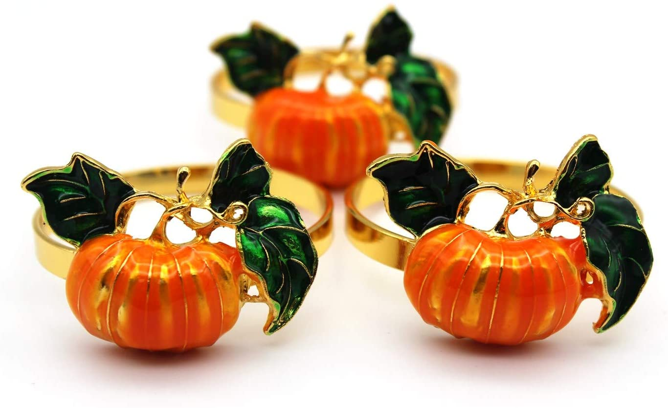 3Pack Metal Gold Pumking Napkin Rings Green Leaves Holder for Halloween Partied Home Dinner Table Decoration