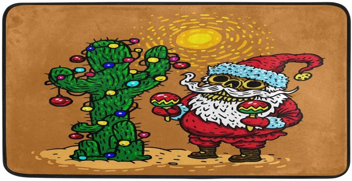 Bolaz Doormat Area Rug Mat Merry Christmas Santa Skeleton Character in Hot Desert with Festive Cactus Dancing Maracas for Bedroom Front Door Kitchen Indoors Home Decors
