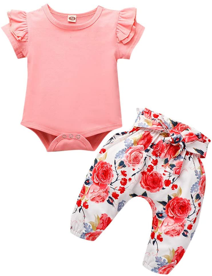 Fineday Outfits Clothes for Boy Girl, Newborn Infant Baby Girls Solid Romper Floral Pants+Headband Outfits Set Clothes, Girls Outfits&Set