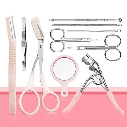 10Pcs Eyebrow Trimming Kit Eyebrow Scissor Tweezers and Razor Set Makeup Beauty Tool For Women Eyebrow Trimming