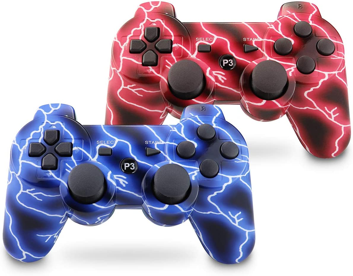 Vinklan PS3 Controller Double Shock Gamepad for Playstation 3, Six-Axis PS3 Controller with Charging Cable (Blue & Red)