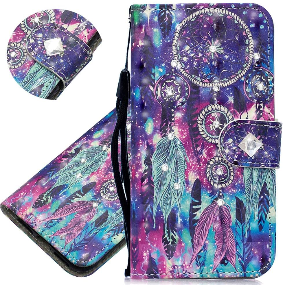 ISADENSER Samsung Galaxy A10E Case for Women Luxury 3D Glitter Bling Diamond Case With Cards Slot Cash Pockets PU Leather Flip Wallet Case for Samsung Galaxy A10E / A20E , Crystal Dreamcatcher CY