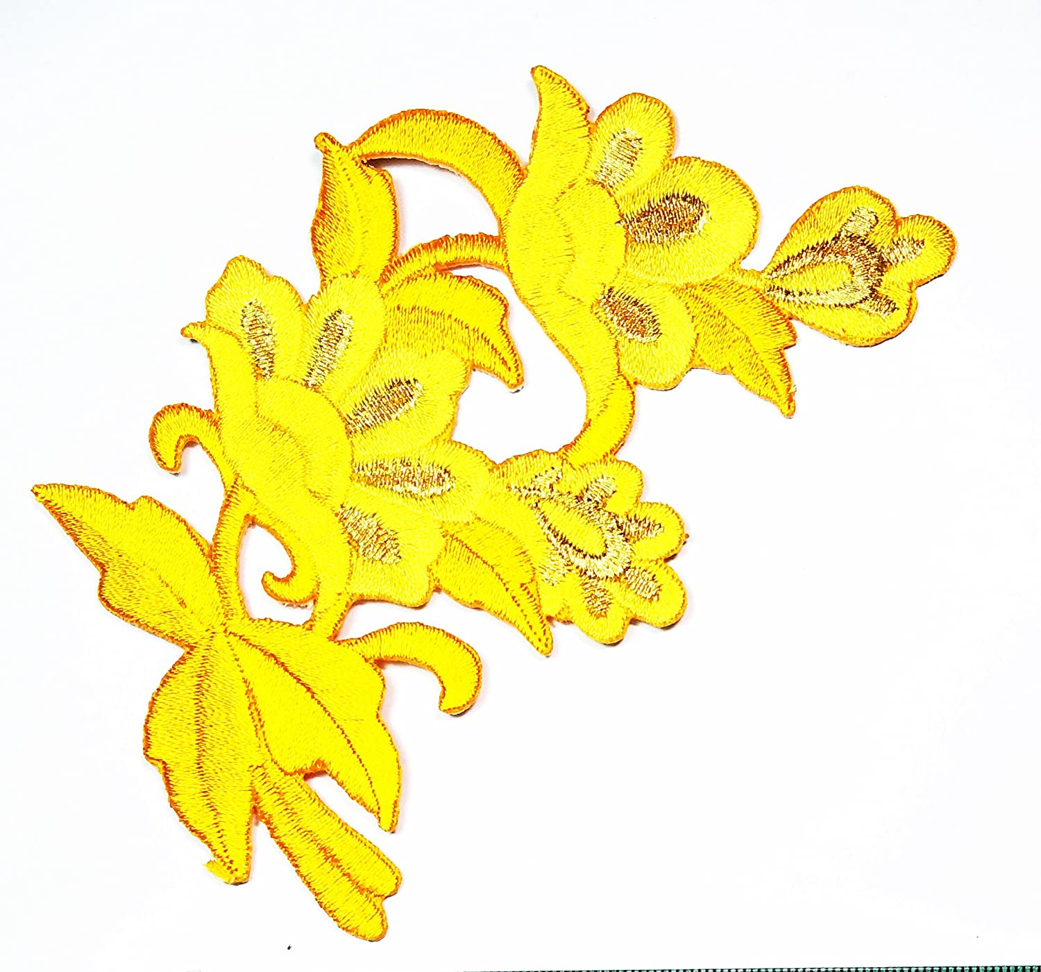 HHO Beautiful Embroidered Yellow Plum Blossom Flower Patches Applique Embroidered Iron on Patch Beautiful Flowers Patch for Bags Jackets Jeans Clothes
