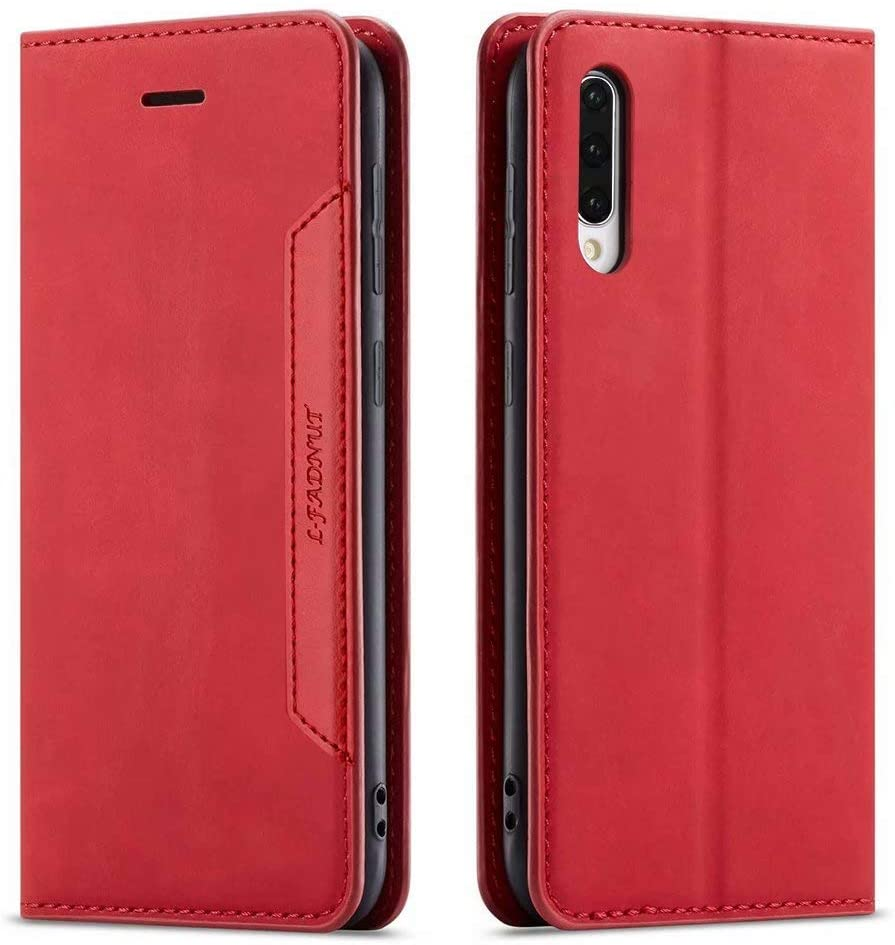for Samsung Galaxy A40 Case Premium PU Leather Case with Card Holder Kickstand Hidden Magnetic Adsorption Shockproof TPU Bumper Flip Wallet Cover for Samsung Galaxy A40,Red