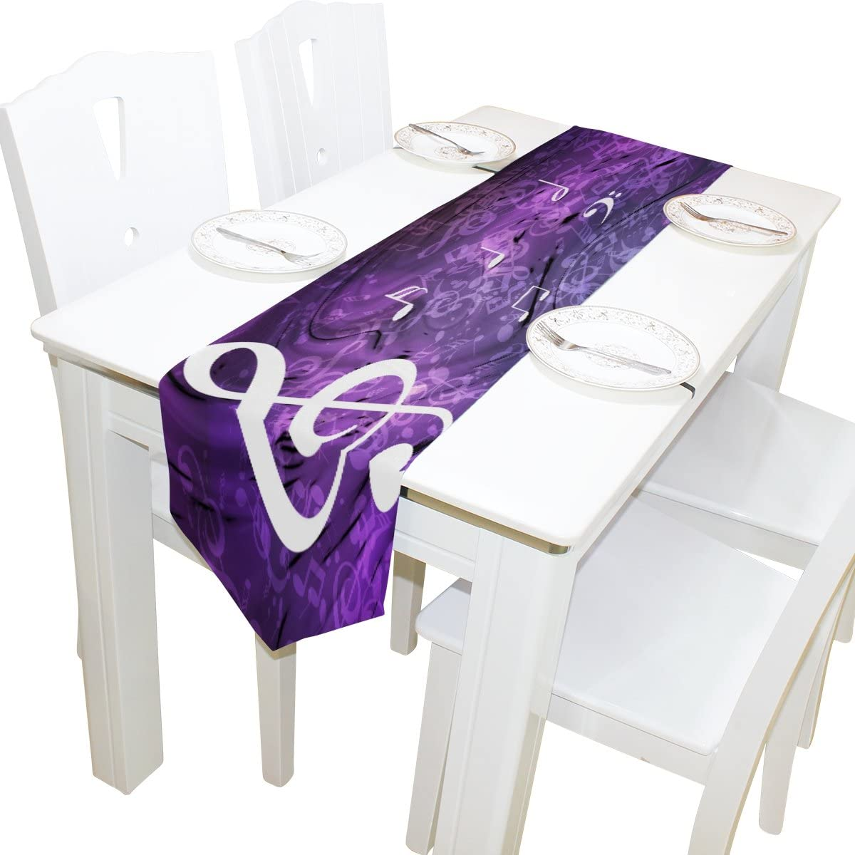 Yochoice Table Runner Home Decor, Stylish White Purple Musical Notes Table Cloth Runner Coffee Mat for Wedding Party Banquet Decoration 13 x 90 inches