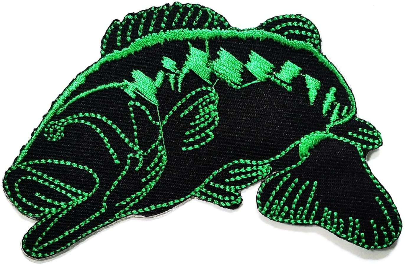 HHO Black Green Bass Fishing Fish Lure Hook Cartoon Kid Patch Embroidered DIY Patches, Cute Applique Sew Iron on Kids Craft Patch for Bags Jackets Jeans Clothes