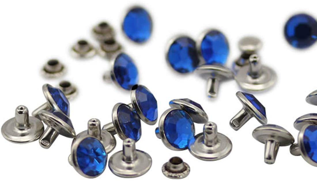 11mm Blue Sapphire H104 Acrylic Rhinestone Rivets for Garments Leather, Sewing and Crafts DIY Jewelry Making in Bulk Bracelet Handbags Flipflops - 40 Pieces