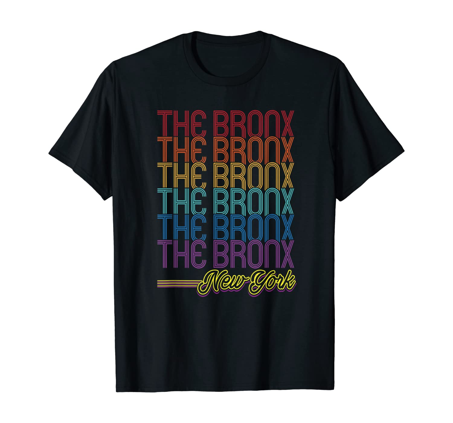 The Bronx Queens Art Deco Repeating Text T-Shirt