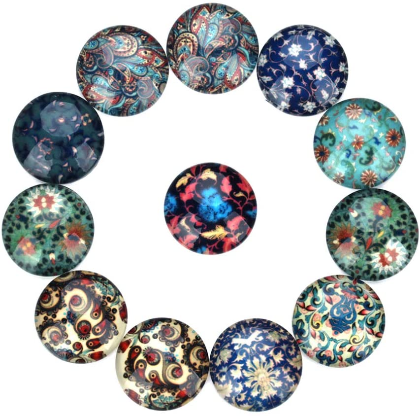 Milisten 20pcs Cabochon Mosaic Printed Beads Tiles Glass Half Round Dome Cabochons Tiles Hemisphere for Jewelry Making Earring Accessories DIY Craft 30MM