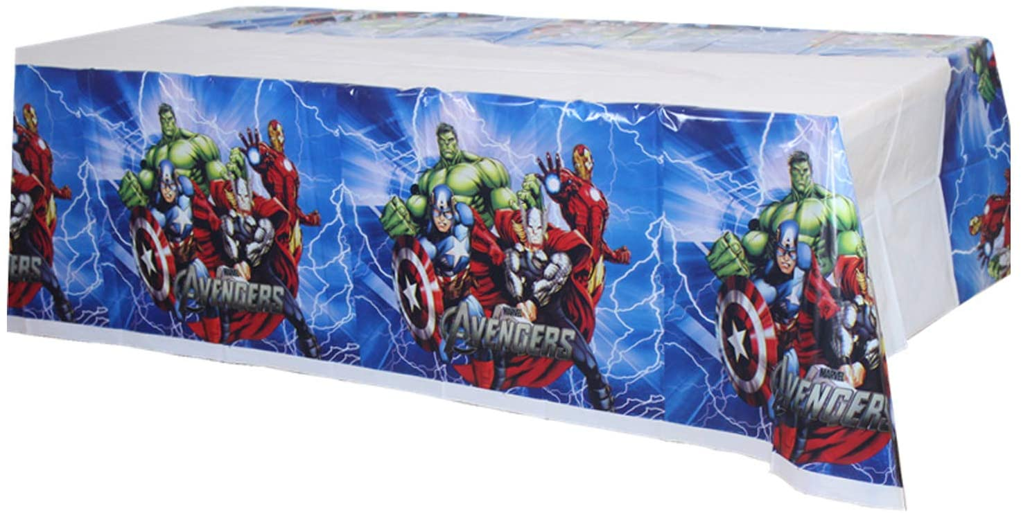 URANGEL 2 PCS Superhero Avengers Plastic Tablecloth Tablecovers for Birthday Party Supplies Decorations for Kids