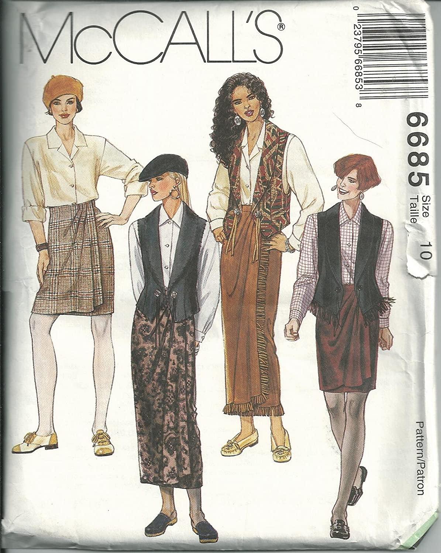 Mccall's 6685, Misses' Vest, Shirt & Wraped Skirt. Size: 10