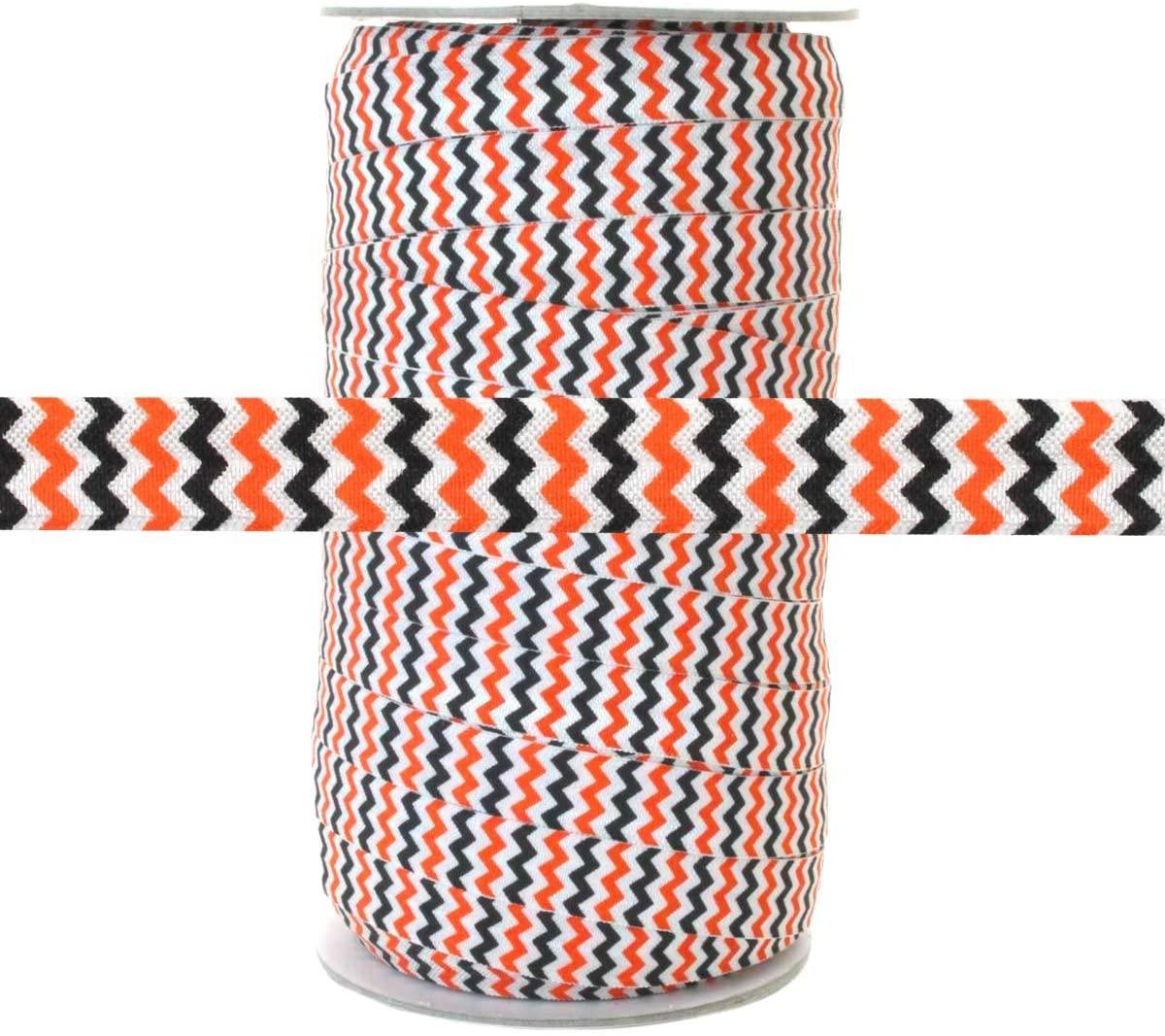 100 Yards - Orange and Black Chevron on White - 5/8