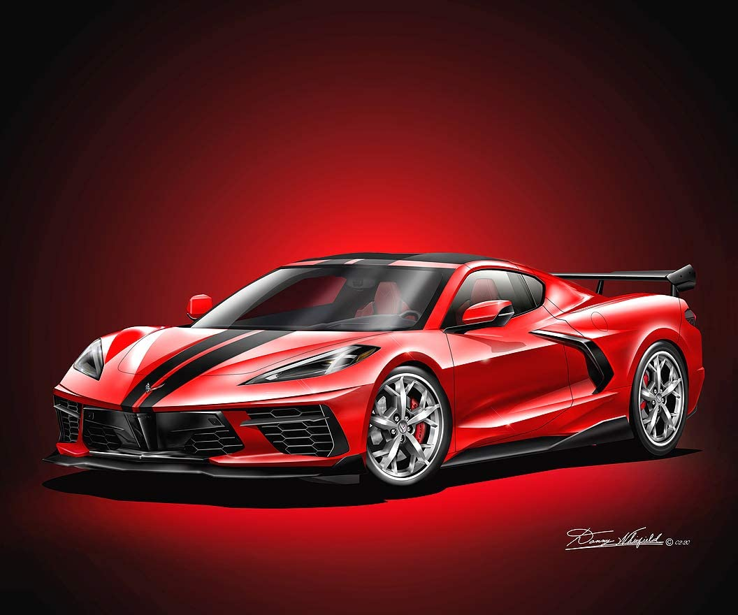 2020 C8 Corvette Stingray - Torch Red - Fine Art Print by Danny Whitfield - with Silver Trident Wheels - Size 20 x 24