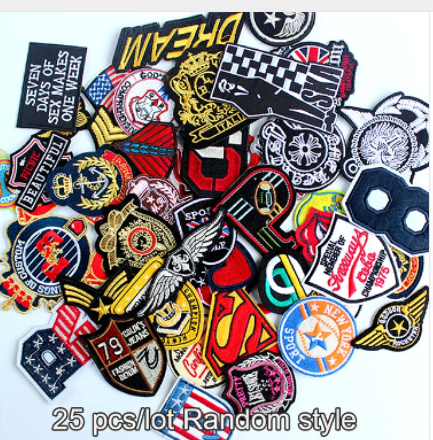 Multi Color Wholesale Patches Iron On Embroidered Patches Assorted Random Patches Mixed Lot Appliques (25 PC,s)