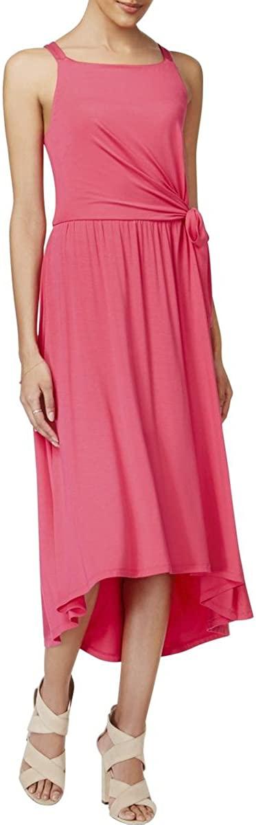 Maison Jules Womens Tie-Waist Midi Dress