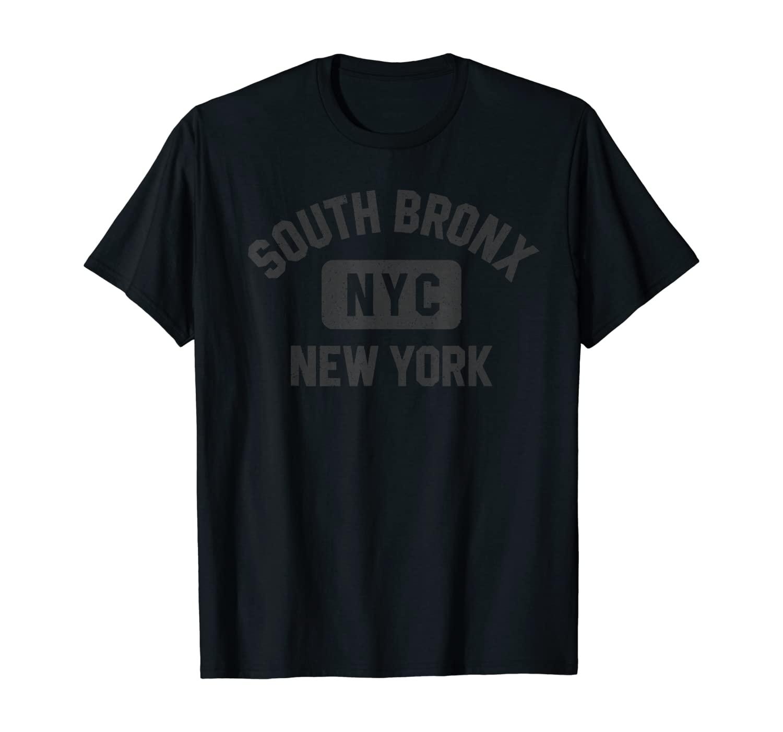 South Bronx NYC Gym Style Black with Distressed Black Print T-Shirt