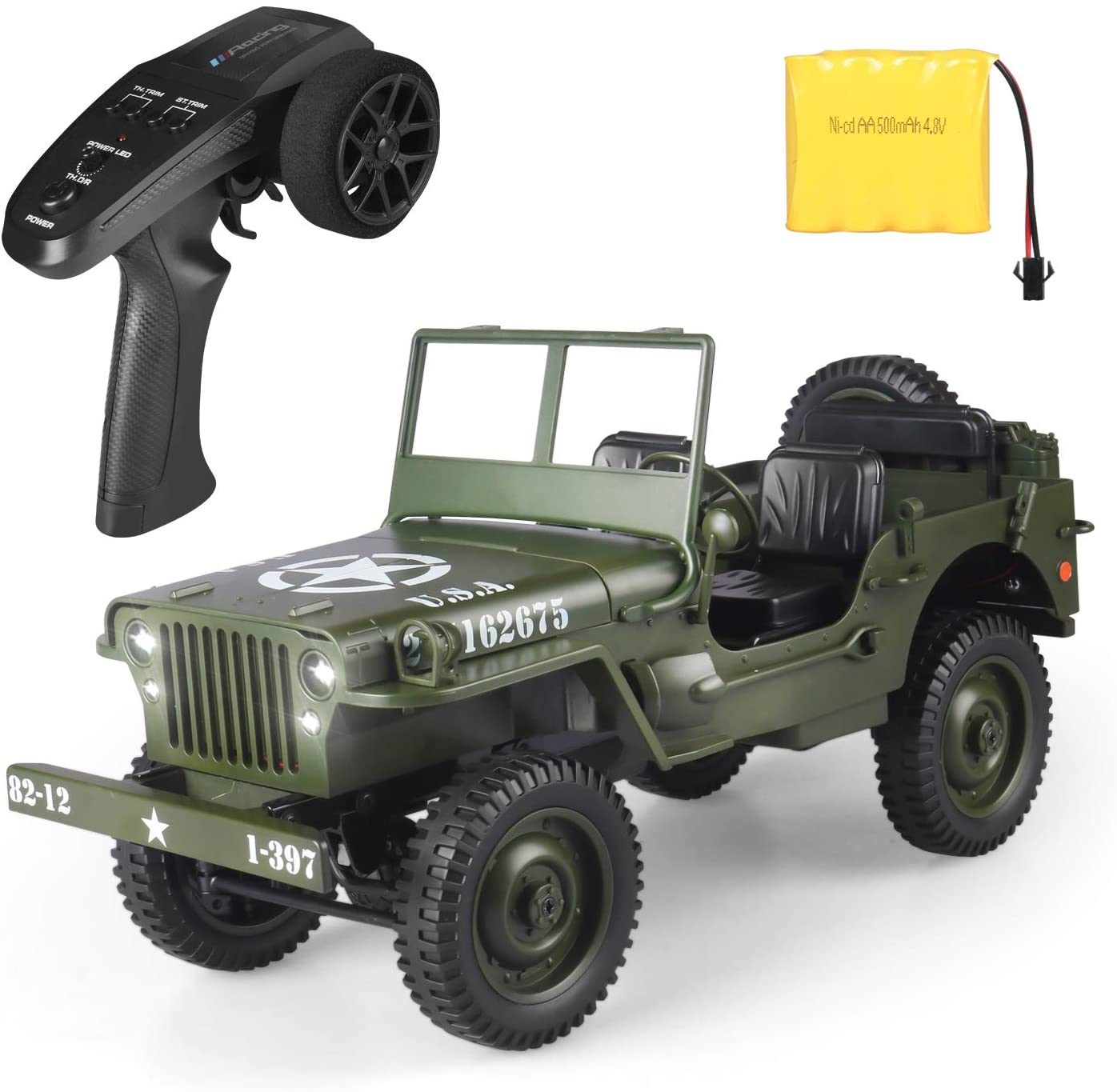 RC Car for Boy Toy,1:10 Scale Simulation Army High Speed 4WD 2.4Ghz RC Cars with Led Light,Military Model Electric Jeep Toys,RC Trucks 4x4 Offroad,Children Gift for Birthday and Christmas (Green)