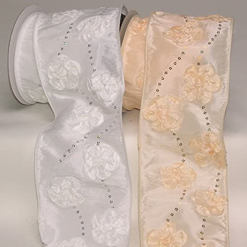 The Ribbon People Ivory Sequined Flowers Wired Craft Ribbon 4