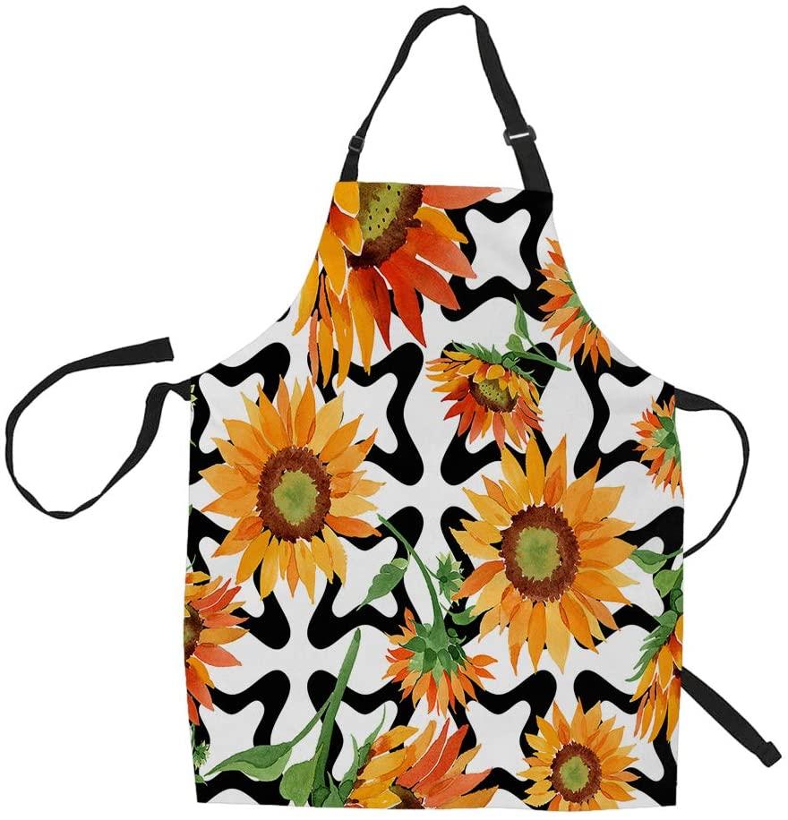 HGOD DESIGNS Floral Apron,Watercolor Orange Sunflower Flower Kitchen Aprons 100% Polyester Adjustable Waist Ties Bib Apront for Baking,Cooking 27