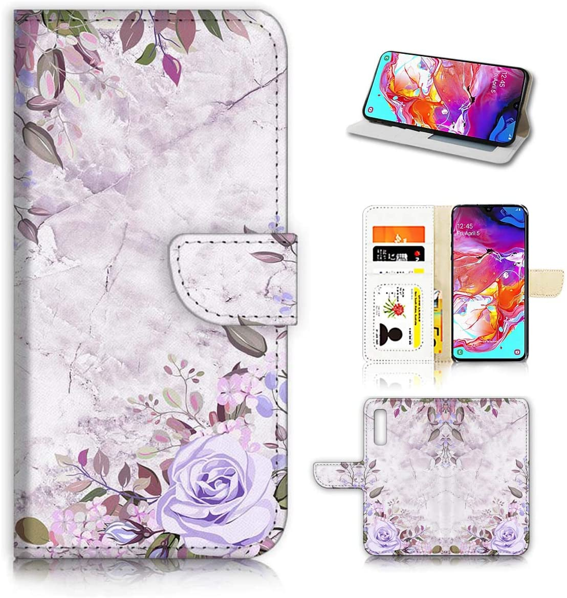 for Samsung A50, Galaxy A50, Designed Flip Wallet Phone Case Cover, A21809 Marble Blue Rose Flower 21809
