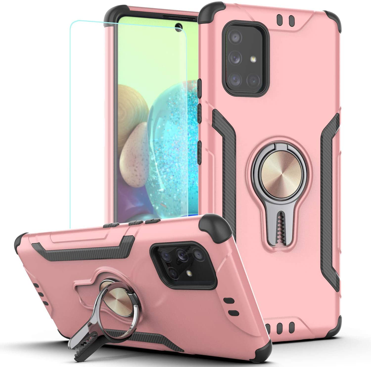 Galaxy A71 5G Case (Not for A71 5G UW or A71 4G 2019) with HD Screen Protector,KaiMai Ring Magnetic Holder Kickstand Dual Layers of Shockproof Phone Case for Samsung Galaxy A71 5G-LJ-Rose Gold