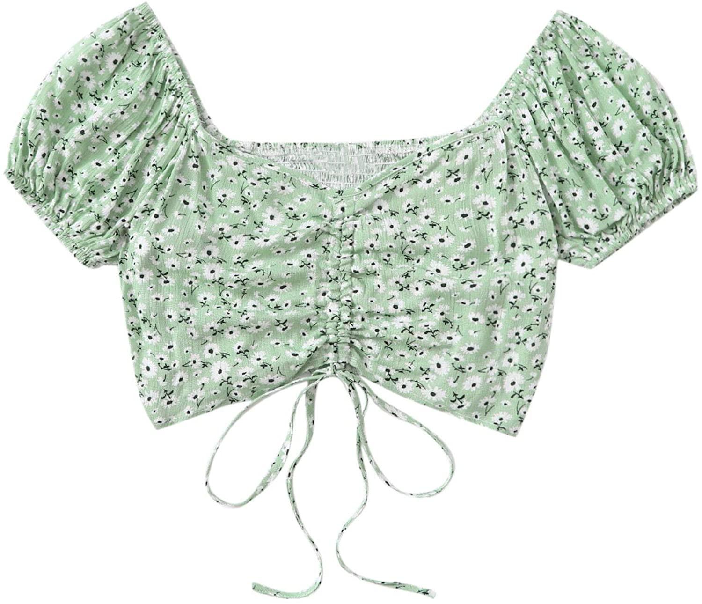 SweatyRocks Womens Leopard Puff Short Sleeve Floral Blouse Summer Square Neck Crop Tops
