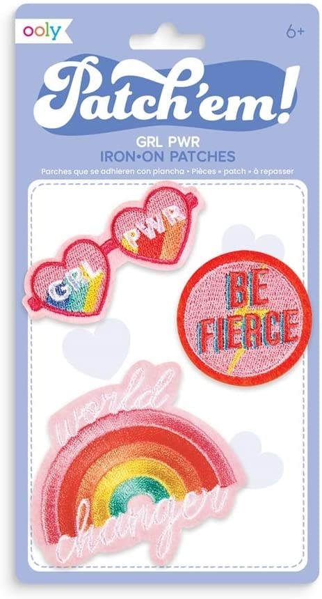 OOLY, Patch 'em Iron-on Patches: GRL PWR - Set of 3