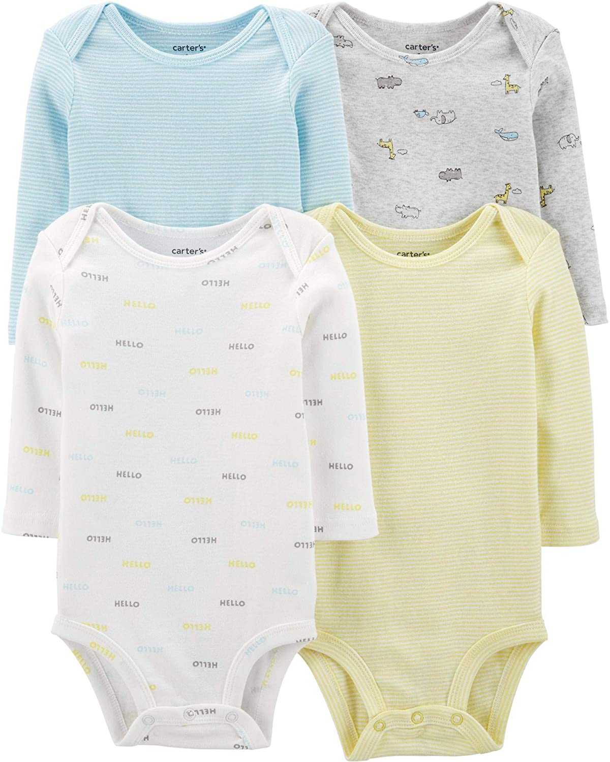 Carter's Unisex-Baby 4-Pack Long Sleeve Bodysuits (12 Months, Hello/Yellow/Blue)