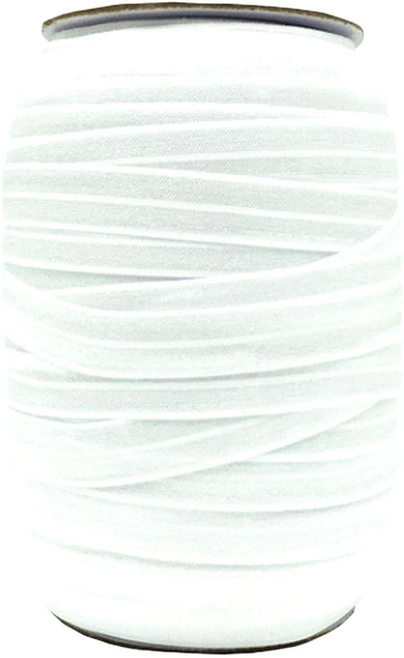 """Elastic Band Co. Braided Fold Over Elastic Spool - 5/8"""" (15mm) 100 Yards White for Hair Ties Ponytail Holder Headbands with High Elasticity and Sensitivity Free FOE Band Rope String Strap"""